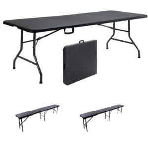 |  Stół cateringowy 180x76cm rattan plus ławki x2 - zestaw