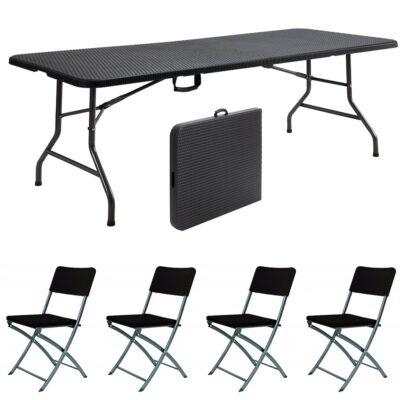 |  Stół cateringowy 180x76cm rattan plus krzesła strong x4 - zestaw