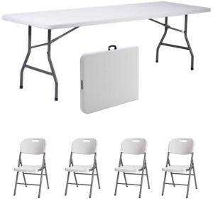 |  Stół cateringowy 180x76cm walizka plus krzesła strong x4 - zestaw