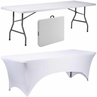 |  Stół cateringowy 180x76cm walizka plus pokrowiec biały - zestaw