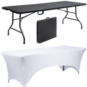 |  Stół cateringowy 180x76cm rattan plus pokrowiec biały - zestaw