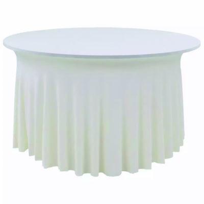 |  Pokrowiec elastyczny skirting biały na stół Fi180cm