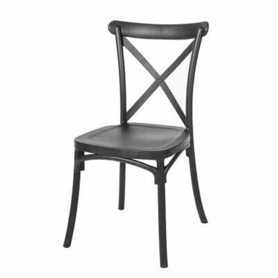 |  Krzesło krzyżowe Boho z tworzywa – czarne | krzeslaonline.pl